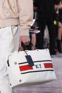 Bottega Veneta White Striped Top Handle Bag - Spring 2018