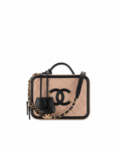 Chanel Beige/Black CC Filigree Medium Vanity Case Bag