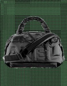 Chanel Black Embossed Nylon Chanel Doudoune Bowling Bag