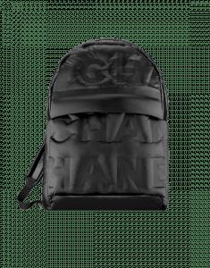 Chanel Black Embossed Nylon Chanel Doudoune Large Backpack Bag