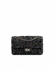 Chanel Black Embroidered Patent Lambskin 2.55 Reissue Size 225 Bag