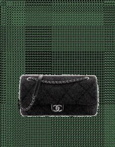 Chanel Black Knit Pluto Glitter Large Flap Bag