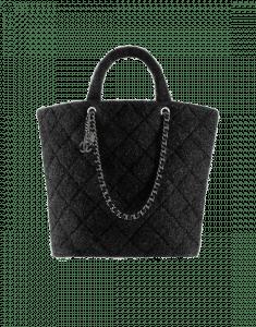 Chanel Black Knit Pluto Glitter Large Shopping Tote Bag