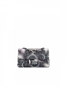 Chanel Black Printed Canvas with Sequins Classic Mini Flap Bag