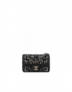 Chanel Black Tweed Cosmos Pearls Mini Flap Bag