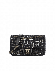 Chanel Black Tweed Cosmos Pearls Small Flap Bag