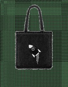 Chanel Black Tweed Rocket Embellished Shopping in Fabrics Bag