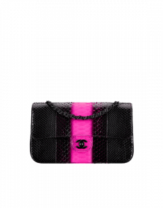 Chanel Black/Pink Python Classic Flap Medium Bag