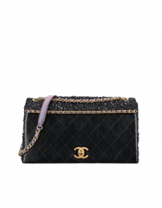 Chanel Black/Purple Calfskin/Tweed Medium Flap Bag