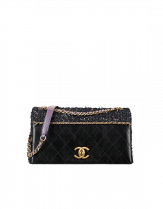Chanel Black/Purple Calfskin/Tweed Small Flap Bag
