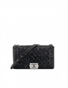 Chanel Black/Silver Embroidered Lambskin Boy Chanel Old Medium Bag