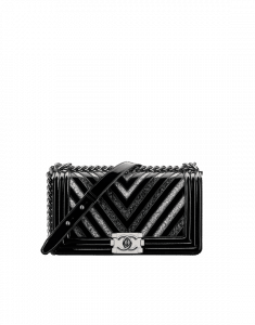 Chanel Black/Silver Glittered PVC Chevron Boy Chanel Old Medium Bag