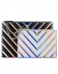d4cf38b16356 ... Chanel Black/White/Silver Chevron Lambskin/PVC Large Pouch Bag