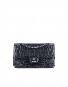 Chanel Charcoal Alligator Classic Flap Medium Bag