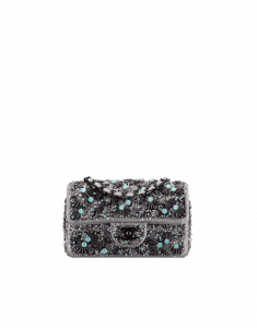 Chanel Charcoal/Blue Embroidered Fabric Classic Mini Flap Bag
