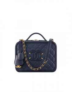Chanel Navy Blue CC Filigree Large Vanity Case Bag