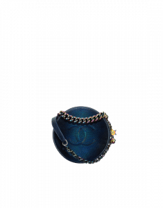 Chanel Navy Blue Metallic Lizard Evening Bag