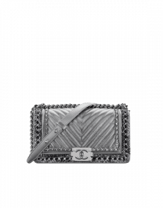 Chanel Silver Boy Chanel Jacket Old Medium Bag