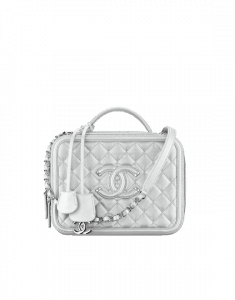 Chanel Silver CC Filigree Large Vanity Case Bag
