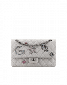 Chanel Silver Canvas Lucky Charms 2.55 Reissue Size 226 Bag