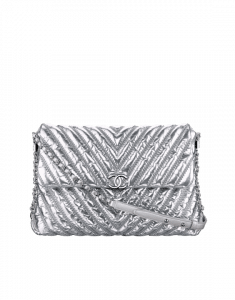 Chanel Silver Chevron Space Suit Flap Bag