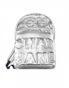 Chanel Silver Embossed Nylon Chanel Doudoune Large Backpack Bag