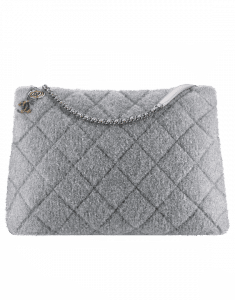 Chanel Silver Knit Pluto Glitter Large Shopping Bag