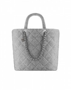 Chanel Silver Knit Pluto Glitter Large Shopping Tote Bag
