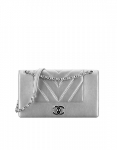Chanel Silver Mademoiselle Vintage Chevron Large Flap Bag