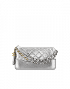e9b2c417210a ... Chanel Silver Metallic Crumpled Calfskin Gabrielle Clutch Bag with Chain