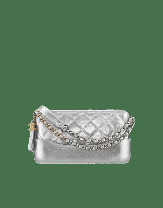 5704853d3761c3 Chanel Silver Metallic Crumpled Calfskin Gabrielle Clutch Bag with Chain