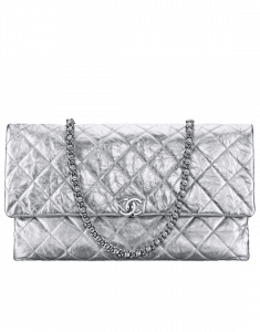 Chanel Silver Metallic Crumpled Calfskin Large Flap Bag