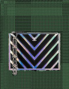aff4e15c9947 Chanel Black Gabrielle Small Pouch Bag Chanel Silver Black Chevron  Lambskin PVC Small Pouch Bag ...