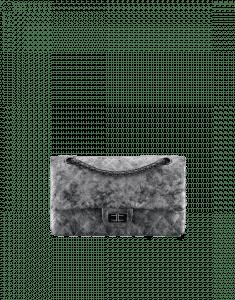 Chanel Silver/Black Metallic Grained Calfskin 2.55 Reissue Size 225 Bag