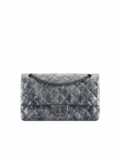 Chanel Silver/Black Metallic Grained Calfskin 2.55 Reissue Size 226 Bag