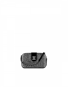 Chanel Silver/Black PVC Evening On The Moon Camera Case Bag