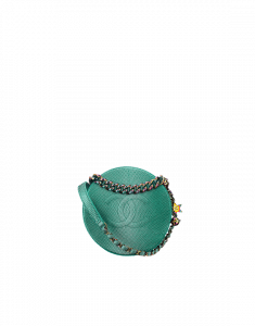 Chanel Turquoise Metallic Lizard Evening Bag