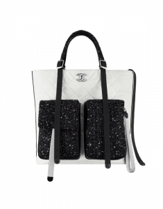 Chanel White/Black/Silver Astronaut Essentials Large Shopping Bag