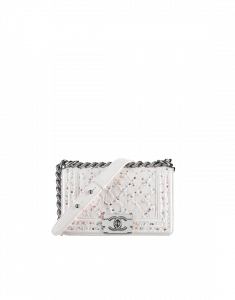 Chanel White/Multicolor Embroidered Lambskin Small Boy Chanel Bag