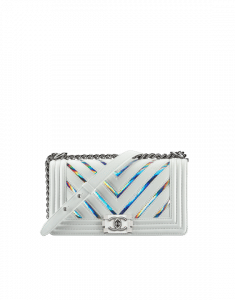 Chanel White/Silver Iridescent PVC Chevron Old Medium Boy Chanel Bag
