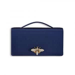 Dior Blue Satin Bee Clutch Bag