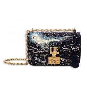 Dior Deep Blue I Feel Blue Embroidered/Printed Dioraddict Small Flap Bag