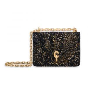 Dior Deep Blue La Lune Aux Oiseaux Hand-Painted Suede Calfskin C'est Dior Mini Flap Bag