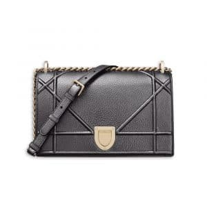 Dior Gunmetal Metallic Diorama Bag