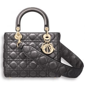 Dior Gunmetal Metallic Supple Lady Dior Bag