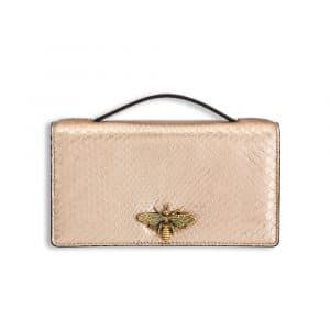 Dior Pink Gold-Tone Metallic Python Bee Clutch Bag
