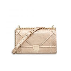 Dior Pink Gold-Tone Metallic Python Small Diorama Bag