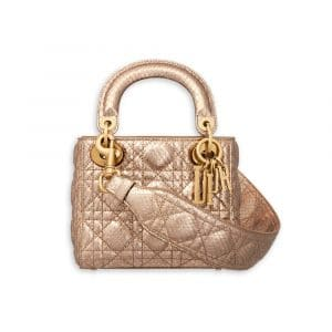Dior Pink Gold-Tone Metallic Python Supple Lady Dior Mini Bag