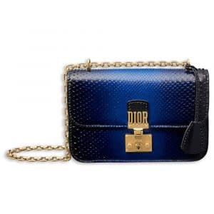 Dior Shiny Blue Graded Lizard Dioraddict Flap Bag