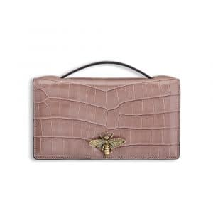 Dior Shiny Dusky Pink Nile Crocodile Bee Clutch Bag